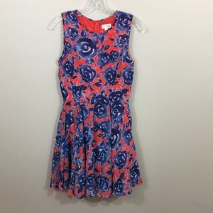 Maison Jules red fit and floral blue rose dress